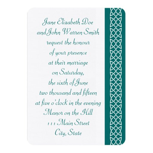 Celtic Weave Hearts in Teal Wedding Invitation