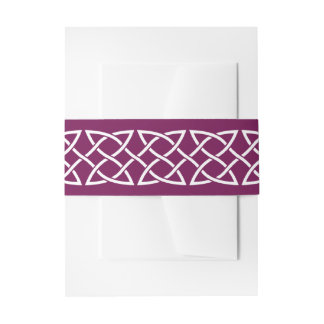 Celtic Weave Hearts in Wine Invitation Belly Band