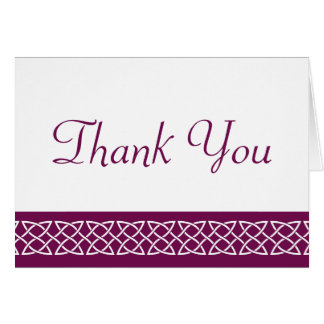 Celtic Weave Hearts in Wine Thank You Card