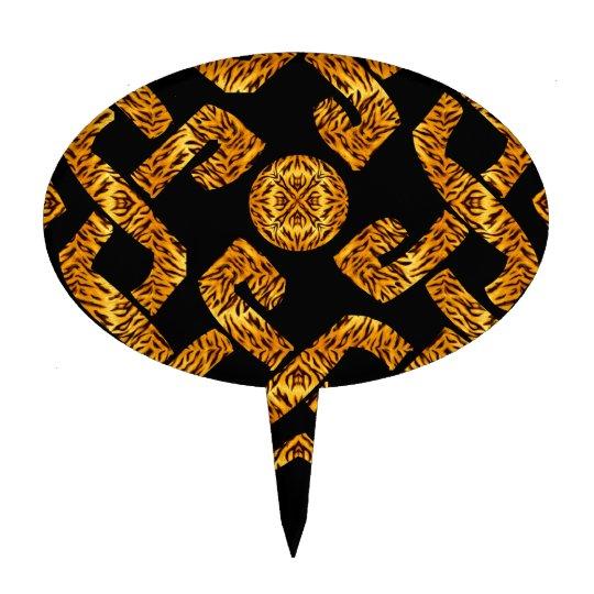 Celtic Weave Tiger Pattern Cake Topper