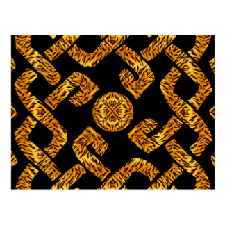 Celtic Weave Tiger Pattern Postcard
