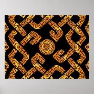 Celtic Weave Tiger Pattern Poster
