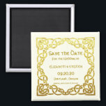 """Celtic Wedding Faux Gold Celtic Knot Save the date Magnet<br><div class=""""desc"""">Elegant Celtic Wedding Faux Gold Celtic Knot Design on Ivory . This is a template ready for you to add your wedding details to . If you would like to change the background color or the font click customize further at the end of the template .</div>"""