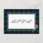 Celtic Wedding RSVP in Black Watch Tartan Plaid