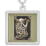 Celtic Wolf - Black Background Silver Plated Necklace