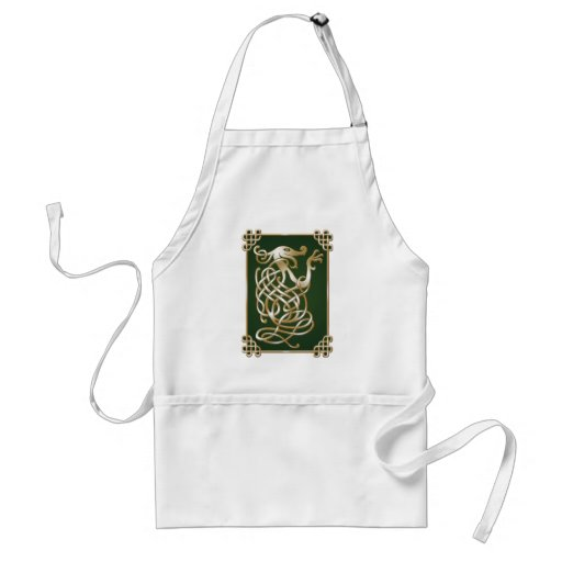 Celtic Wolf - green Aprons