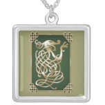 Celtic Wolf - Green Background Silver Plated Necklace