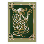 Celtic Wolf - green Greeting Cards