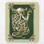 Celtic Wolf - green Mouse Pads