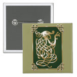 Celtic Wolf - green Pinback Button