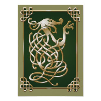 Celtic Wolf - green Poster
