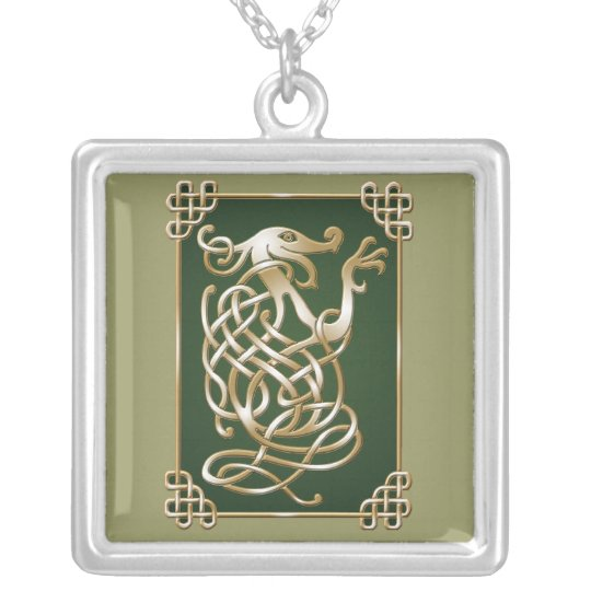 Celtic Wolf - green Silver Plated Necklace