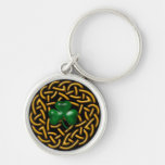 Celtic Wreath and Shamrock Silver-Colored Round Keychain