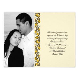 Celtic Yellow Rose Border Wedding Engagement Custom Announcements