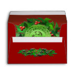 Celtic Yule Spiral with Holly Envelope