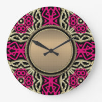 Celtica Hot Pink & Gold Wall Clock
