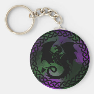 CelticCircleDragonPurpleGreen Keychain