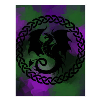 CelticCircleDragonPurpleGreen Postcard