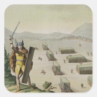 Celts antiguos o Gauls en batalla, c.1800-18 Pegatina Cuadrada