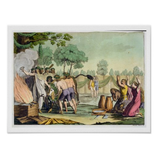 Celts antiguos o Gauls que sacrifican una vaca, c. Poster