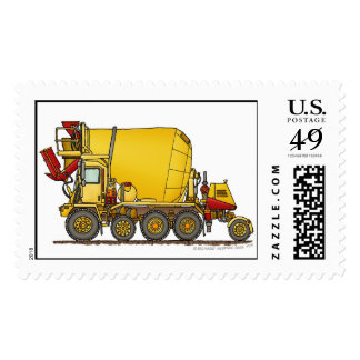 Cement Mixer Front Discharge Truck Construction St Postage Stamp