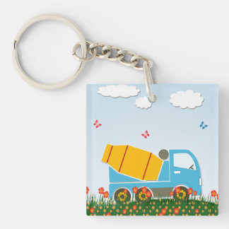 Cement mixer truck Double-Sided square acrylic keychain