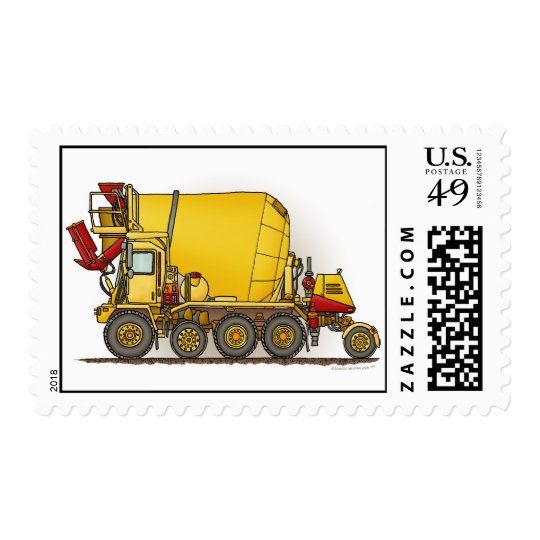 Cement Mixer Truck Postage Stamp
