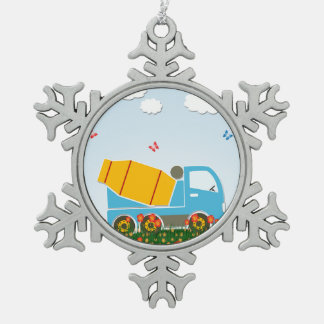 Cement mixer truck snowflake pewter christmas ornament