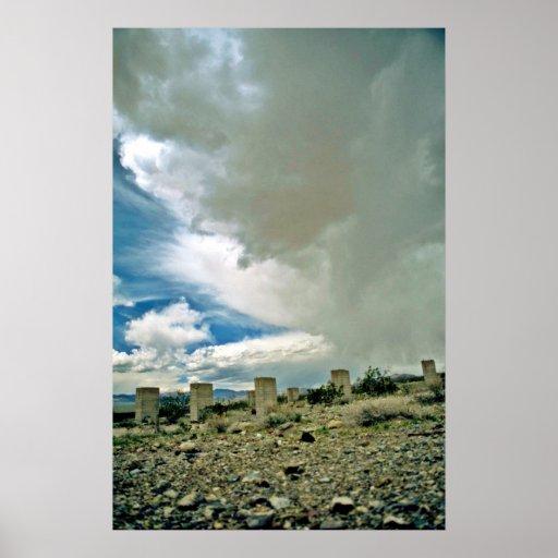 Cement Pilings Under Desert Rainclouds Poster