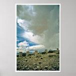 Cement Pilings Under Desert Rainclouds Print