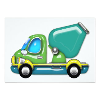 Cement Truck in Blue Green and Yellow 5x7 Paper Invitation Card
