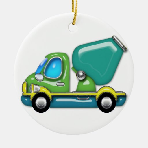 Cement Truck in Blue Green and Yellow Ornament