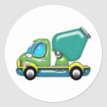 Cement Truck in Blue Green and Yellow Sticker