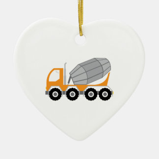 Cement Truck Double-Sided Heart Ceramic Christmas Ornament