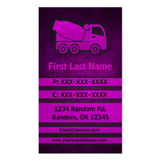 Cement truck pink grunge custom business cards