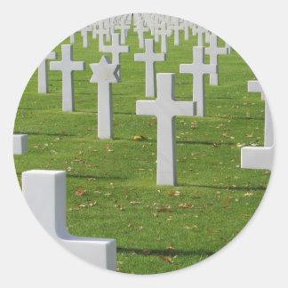 Cementerio americano en Normandía Pegatina Redonda