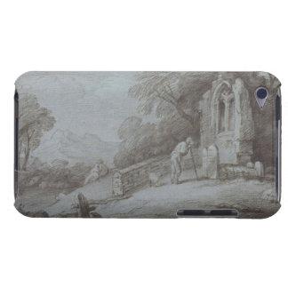 Cementerio con la figura que comtempla la piedra cubierta para iPod de barely there