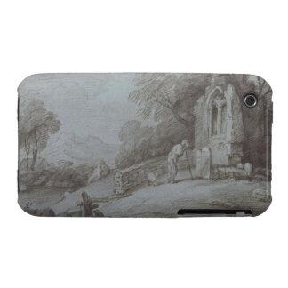 Cementerio con la figura que comtempla la piedra s iPhone 3 Case-Mate funda