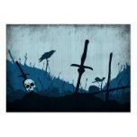Cementerio con los cráneos y los cuervos tarjetas de visita