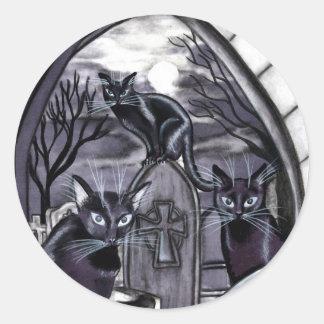 Cementerio de la Luna Llena de los gatos negros Pegatinas Redondas