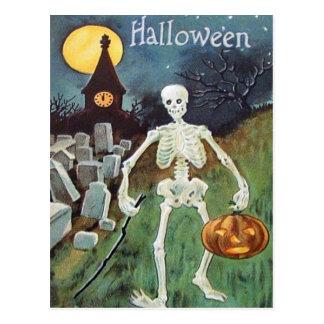 Cementerio del esqueleto de la calabaza de la lint postal