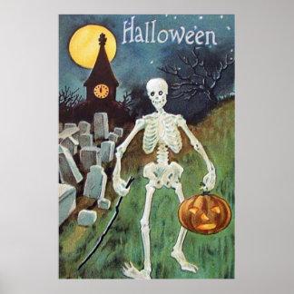 Cementerio del esqueleto de la calabaza de la póster