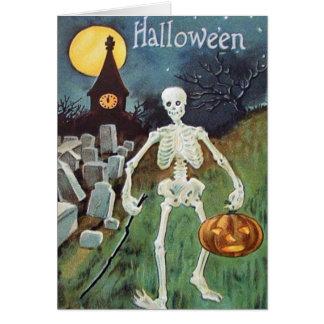 Cementerio del esqueleto de la calabaza de la tarjeta de felicitación
