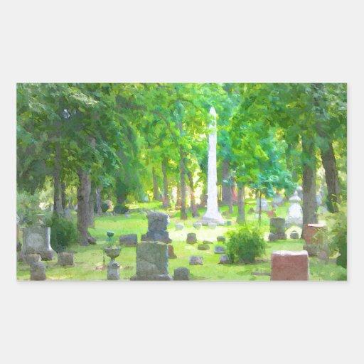 Cementerio del verano pegatina rectangular