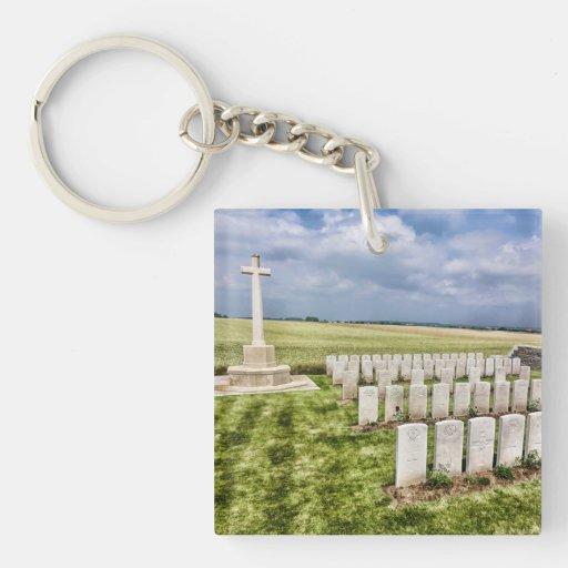 Cementerio en Francia Llavero Cuadrado Acrílico A Una Cara