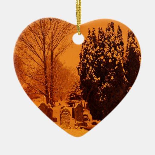 Cementerio en la nieve ornamento de navidad