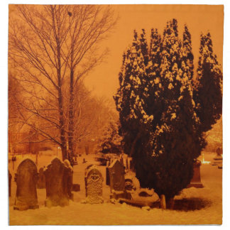 Cementerio en la nieve servilleta imprimida