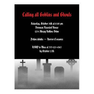 Cementerio espeluznante Halloween gótico de la Tarjetas Postales