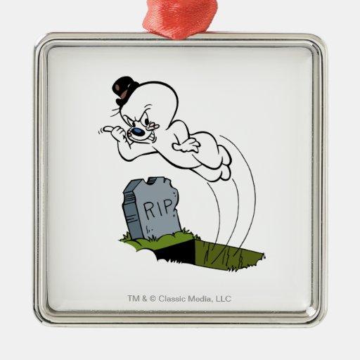 Cementerio fantasmagórico adorno cuadrado plateado