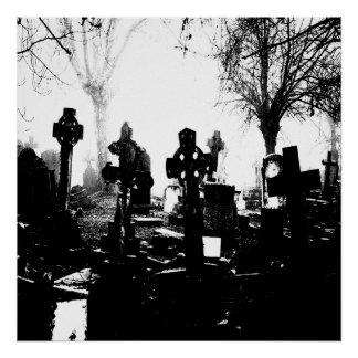 Cementerio gótico espeluznante póster